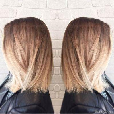 Шатуш омбре балаяж на короткие волосы фото