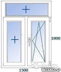 Одностворчатое окно пвх kbe etalon поворотно-откидное от ком.