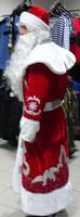 Костюм Деда Мороза с орнаментом, мешком, шапкой и перчатками