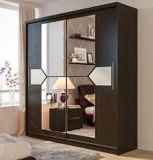 шкаф купе двухстворчатый из лдсп коричневый со стеклом в